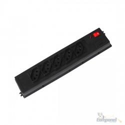 Filtro de Linha em Plástico Preto (ABS) - 05 Tomadas cabo 1,0 mt